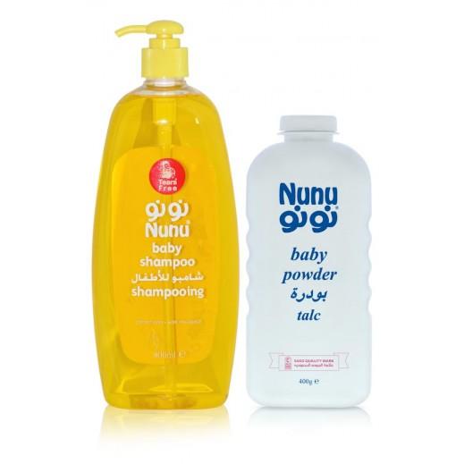 Nunu Baby Shampoo 800 ml + Baby Powder 400 ml Free Prom
