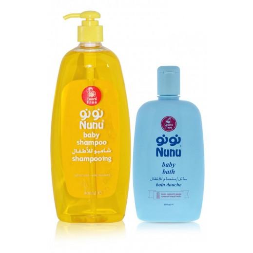 Nunu Baby Shampoo 800 ml + Baby Bath 400 ml Free Prom
