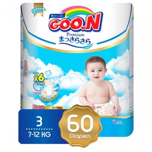 GOO.N Premium Diapers Size 3 (7-12 Kg) Medium 60 Pieces