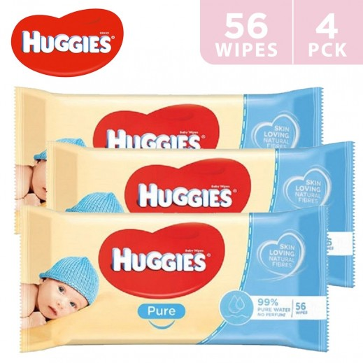 Huggies Pure Baby Wipes 4 x 56 Pieces
