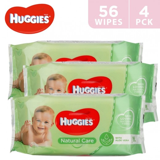 Huggies Natural Care Baby Wipes 4 x 56 Pieces