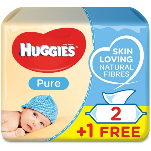 Huggies Baby Pure Wipes 56 Pieces 2 + 1 Free
