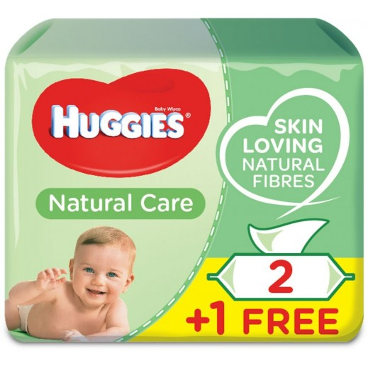 Huggies Baby Natural Care Wipes 56 Pieces 2 + 1 Free