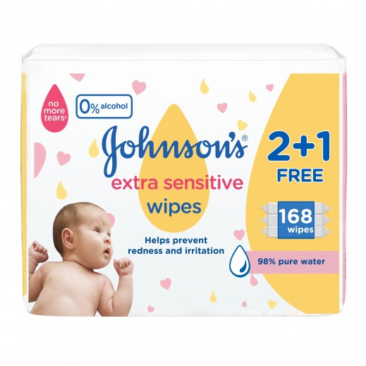 Johnson's Baby Extra Sensitive Wipes 56 Pieces 2 + 1 Free