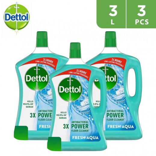 Dettol Fresh Aqua Antibacterial Power Floor Cleaner 3 L - 3 Pieces