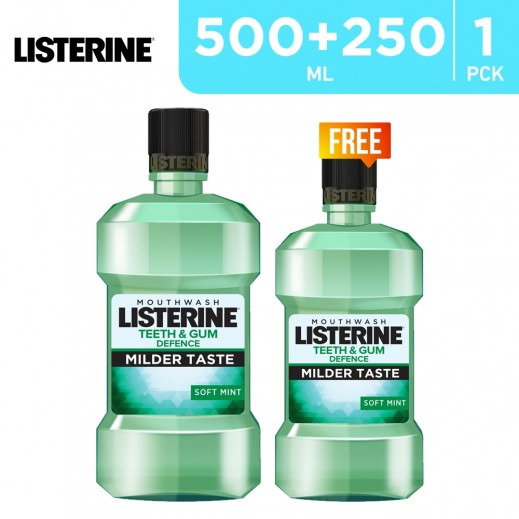 Listerine Teeth & Gum Defence Soft Mint MouthWash 500 ml + 250 ml Free