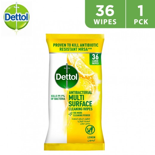 Dettol Lemon Antibacterial Multi Surface Cleaning Wipes 36 Pieces
