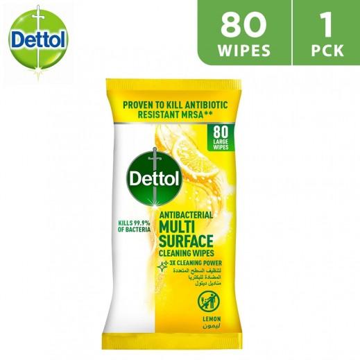 Dettol Lemon Antibacterial 80 Surface Wipes