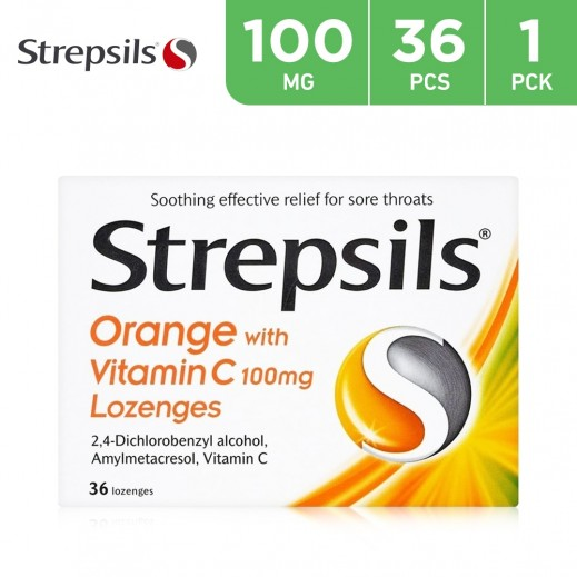 Strepsils Sore Throat Relief Orange Vitamin C 100mg  36 Pieces
