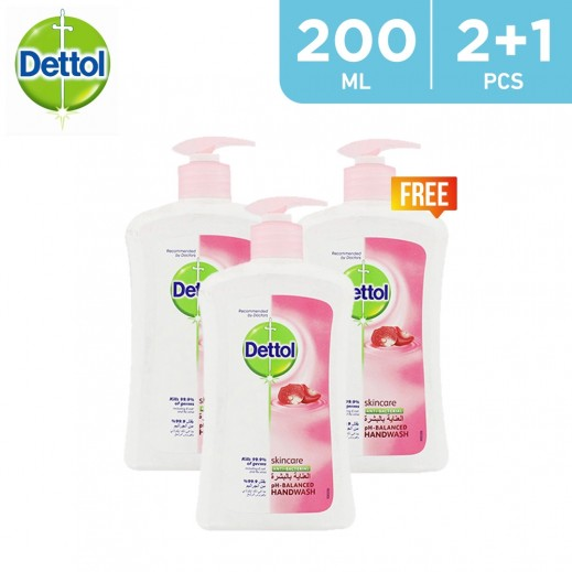 Dettol SkinCare Anti-Bacterial Hand Wash 200 ml (2 + 1 Free)