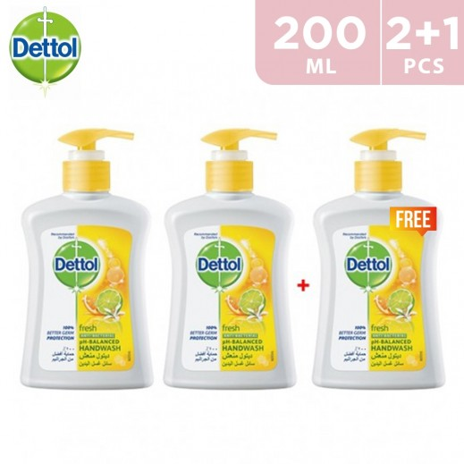 Dettol Fresh Anti-Bacterial Hand Wash 200 ml 2+1 Free