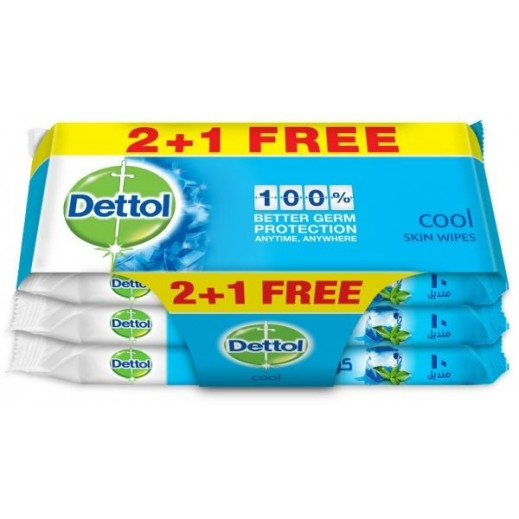 Dettol Cool Wipes 10 Pieces 2 + 1 Free