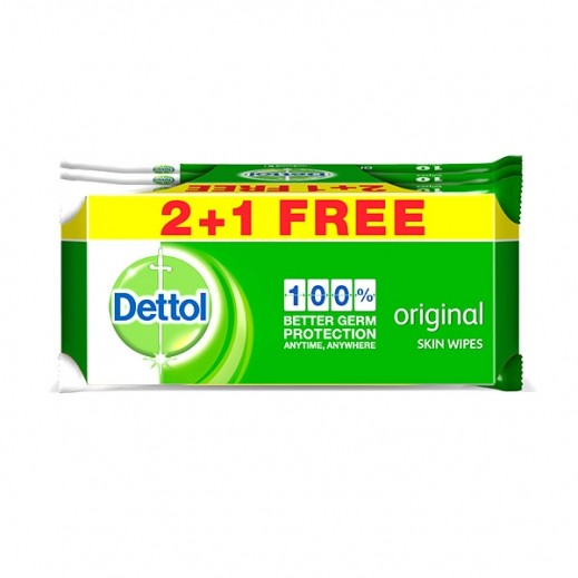 Dettol Orginal Skin Wipes 10 Pieces 2 + 1 Free Prom