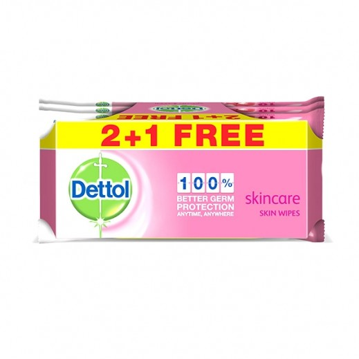 Dettol Skincare Skin Wipes 10 Pieces 2 + 1 Free