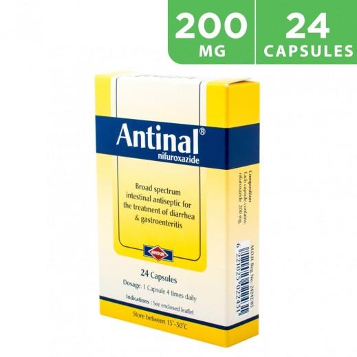 Antinal 200mg For Treatment of Diarrhea & Gastroenteritis 24 Capsules