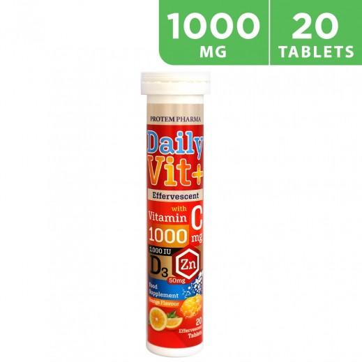 DAILY Vit-C Vitamin 1000mg + D31000 IU + ZINC 50mg 20 Tablets