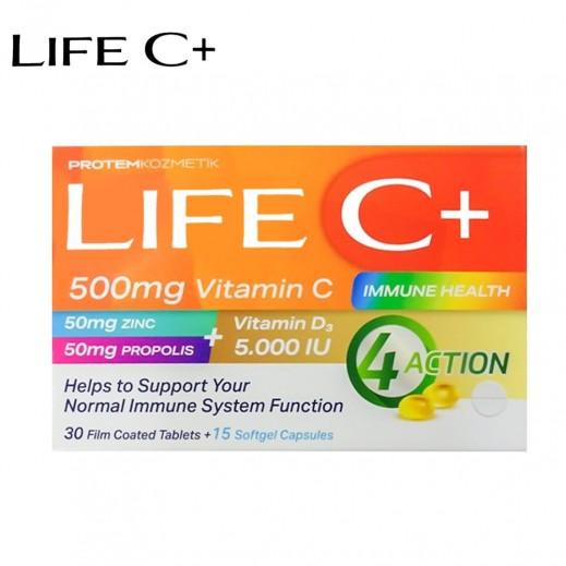 Life C+ 500 mg Vitamin C 30 Filim Coated Tablets + 15 Softgel Capsules