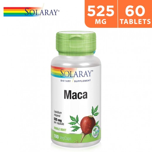 Solaray Maca 525mg Whole Root Dietary Supplement 60 Capsules