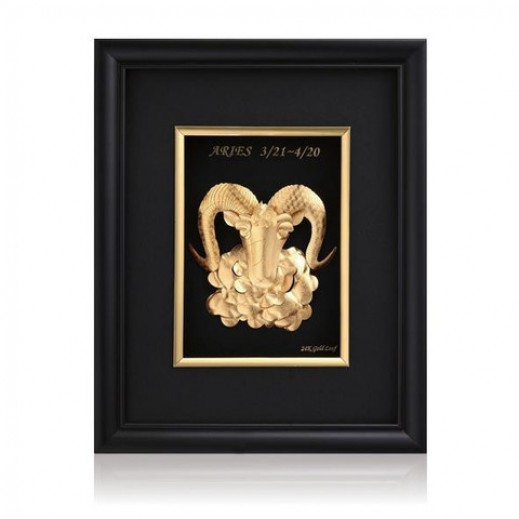 Q Best 24K Gold Foil 3D Aries Constellation
