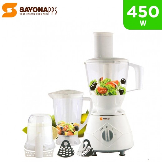 Sayona 450W 7 in 1 Multifunction Food Processor with Blender, Meat Mincer and Mill - White