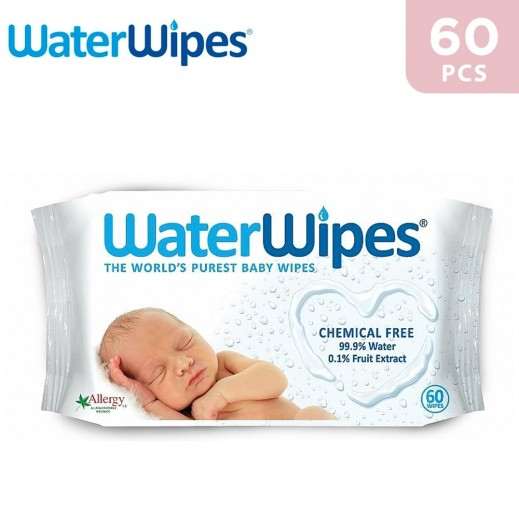 WaterWipes Sensitive Baby Wet Wipes Natural & Chemical Free 60 Wipes