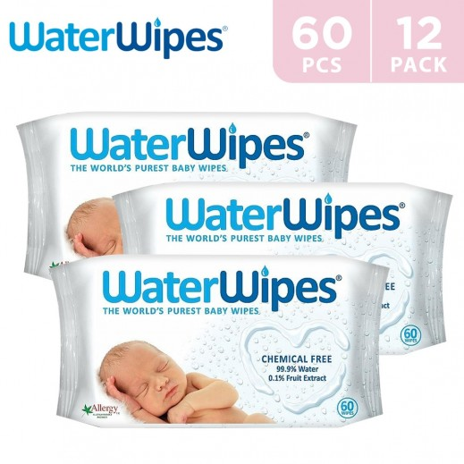 WaterWipes Sensitive Baby Wet Wipes Natural & Chemical Free (12 x 60 Wipes)