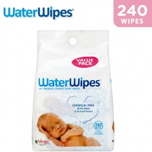 WaterWipes Sensitive Baby Wet Wipes Natural & Chemical Free 240 pcs
