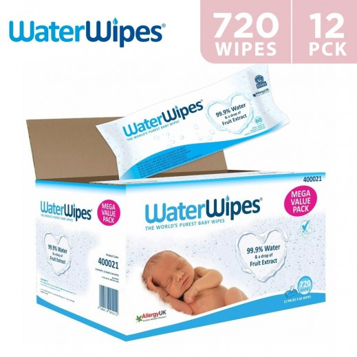 WaterWipes Sensitive Baby Wet Wipes 12 x 60 Wipes