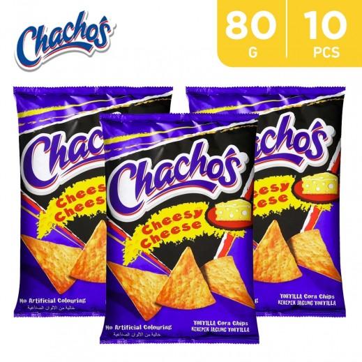 Fonzies Chacho's Cheesy Cheese Tortilla Corn Chips 10 x 80 g