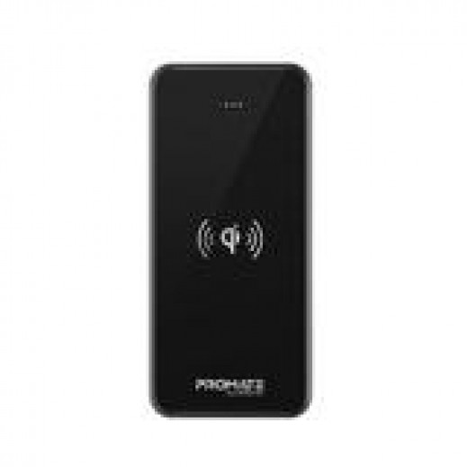 Promate 10000mAh Tempered Glass 5W Wireless Charging Power Bank - Black
