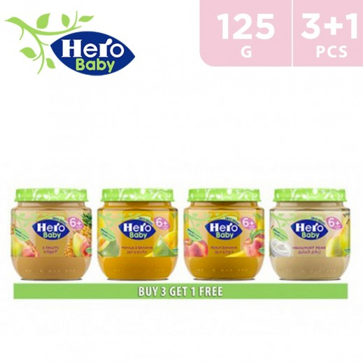 Hero Baby Food Jar Assorted 125 g (3+1 Free)