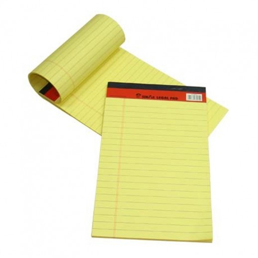 Sinarline Legal Pad Yellow A5 Size 10 pieces