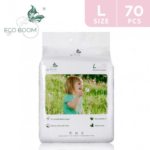 Eco Boom Bamboo Baby Diaper Large (9-14 kg) 70 Pieces