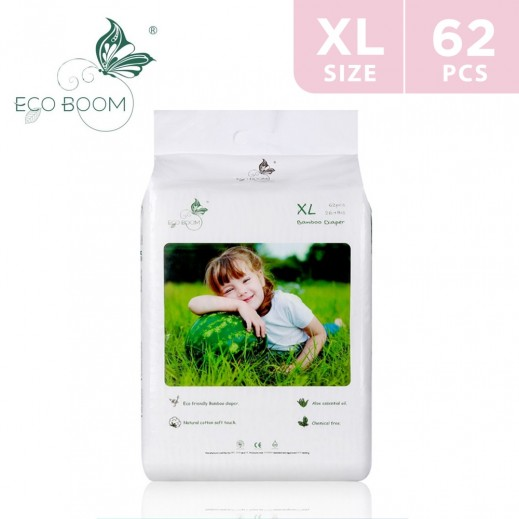Eco Boom Bamboo Baby Diaper XLarge (12+ kg) 62 Pieces