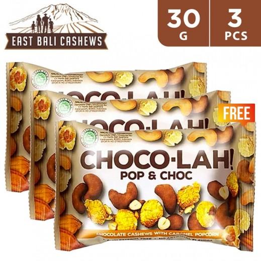 East Bali Cashews Choco-Lah Pop & Choc Snacks 30 g (1 + 2 Free)