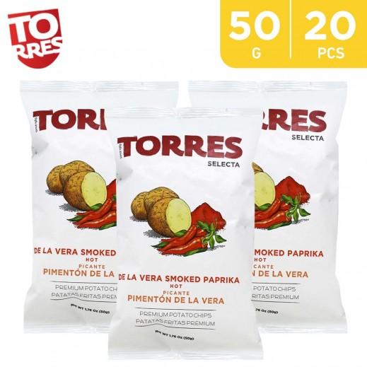 Torres Selecta De La Vera Hot Smoked Paprika Potato Chips 20 x 50 g
