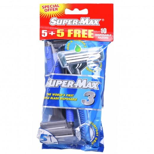 Supermax 3 Disposable Razors 5 + 5 Free