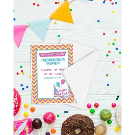 Birthday Invitations - 25 cards & Envelops - BC004 - delivered by Berwaz.com