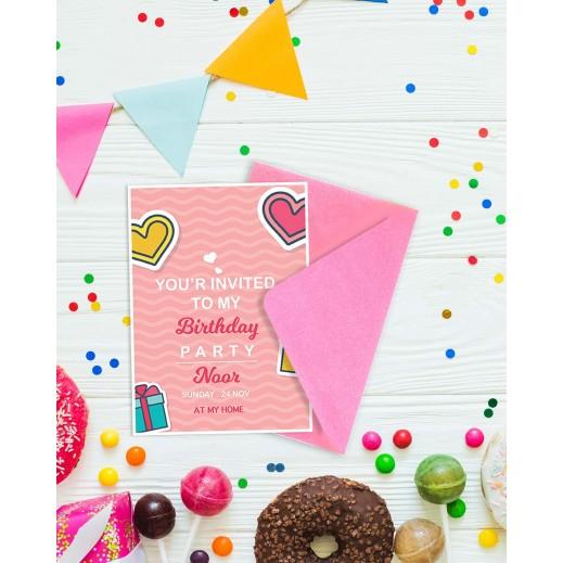 Birthday Invitations - 25 cards & Envelops - BC515 English - delivered by Berwaz.com