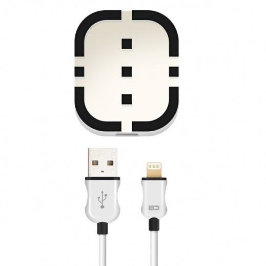 BD Wall Charger 2 Ports with Lightning Cable - White