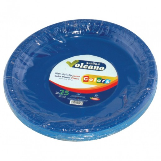 Volcano Plastic Plate Assorted Colors 10 inch - 25 Pieces