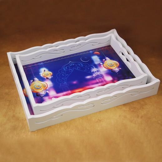 Ramadan Special Wooden Tray Set Blue - 2 Pieces