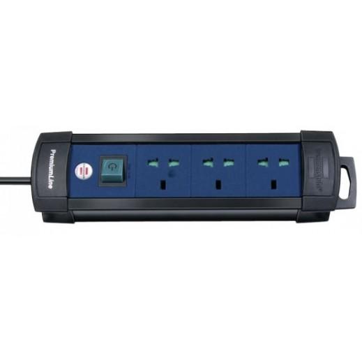 Brennenstuhl Extension Socket 3-Way 3m – Black & Blue