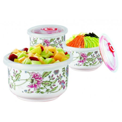 Ceramic Bowl Set with Vacuum Lid Flower - 6 Pieces