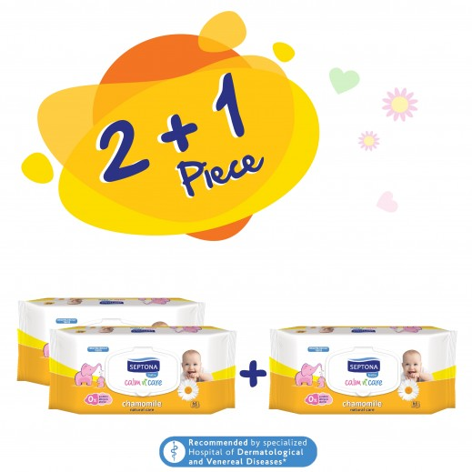 Septona Calm n Care Chamomile Baby Wipes 64 Pieces 2 + 1 Free Prom