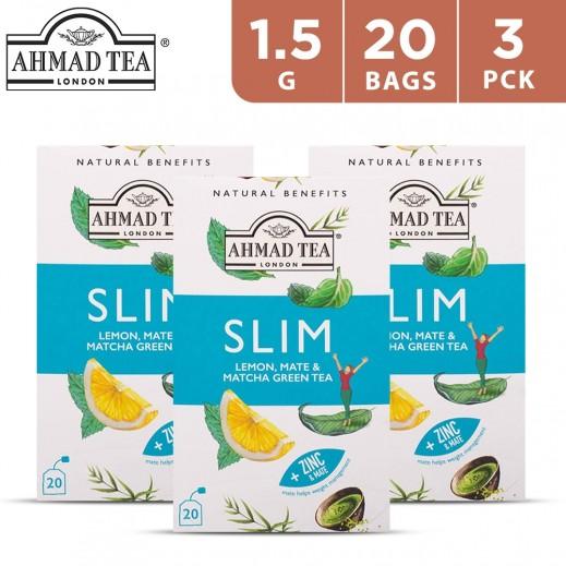 Ahmad Tea Slim Lemon Mate & Matcha Green Tea 20 x 1.5 g (3 Packs)