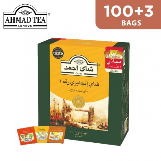 Ahmad Tea English Tea No.1 Well Balanced 2 g (100 + 3 Herbal bags Free)
