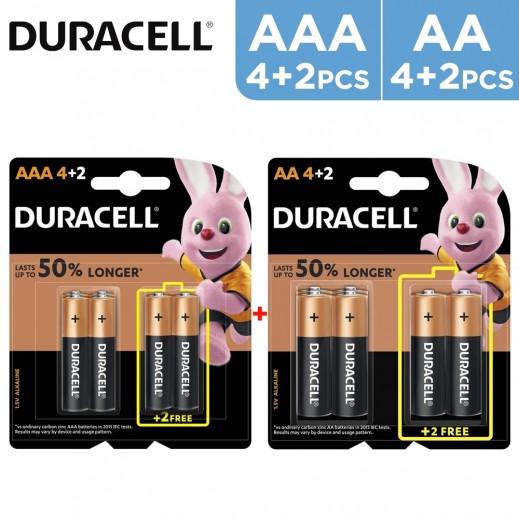 Duracell AA Batteries 4+2 Free + AAA Batteries 4+2 Free Bundle