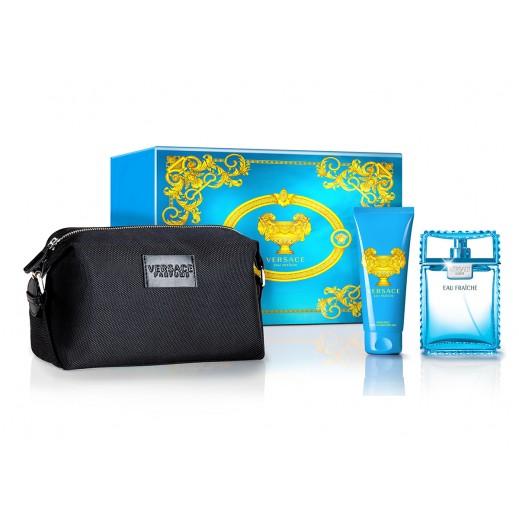 Versace Gift Set For Men (Eau Fraiche EDT 100ml + Shower Gel 100ml + Versace Black Bag)