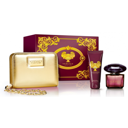 Versace Crystal Noir EDT Set For Her 90ml + Body Lotion + Chain Bag